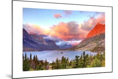 Glacier National Park, Montana - St. Mary Lake and Sunset-Lantern Press-Mounted Art Print