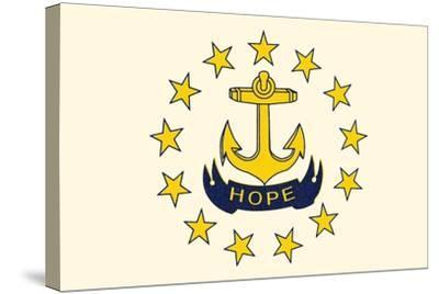 Rhode Island State Flag-Lantern Press-Stretched Canvas Print