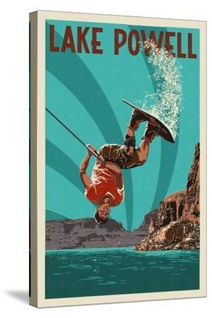 Lake Powell - Wakeboarder-Lantern Press-Stretched Canvas Print