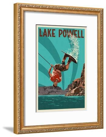 Lake Powell - Wakeboarder-Lantern Press-Framed Art Print