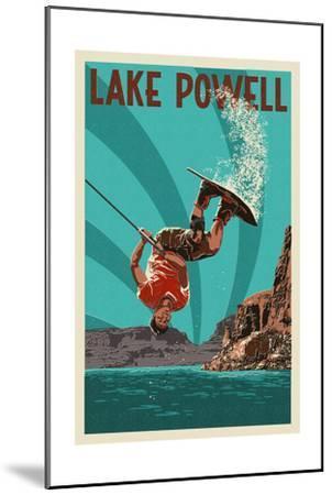 Lake Powell - Wakeboarder-Lantern Press-Mounted Art Print