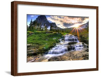Glacier National Park, Montana - Mt. Reynolds and Sun Rays-Lantern Press-Framed Premium Giclee Print