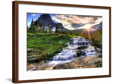 Glacier National Park, Montana - Mt. Reynolds and Sun Rays-Lantern Press-Framed Art Print