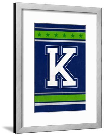 Monogram - Game Day - Blue and Green - K-Lantern Press-Framed Art Print