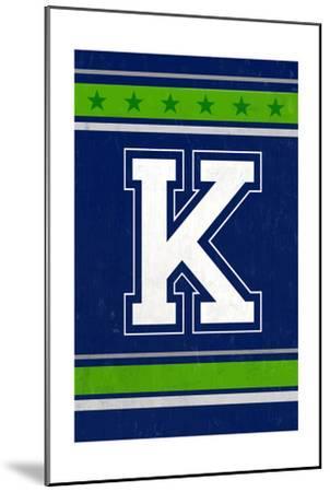 Monogram - Game Day - Blue and Green - K-Lantern Press-Mounted Art Print