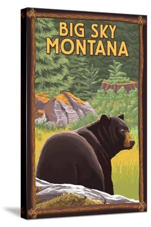 Big Sky, Montana - Bear in Forest-Lantern Press-Stretched Canvas Print