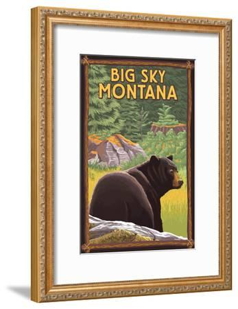 Big Sky, Montana - Bear in Forest-Lantern Press-Framed Art Print