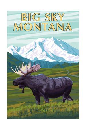 Big Sky, Montana - Moose and Mountain-Lantern Press-Stretched Canvas Print