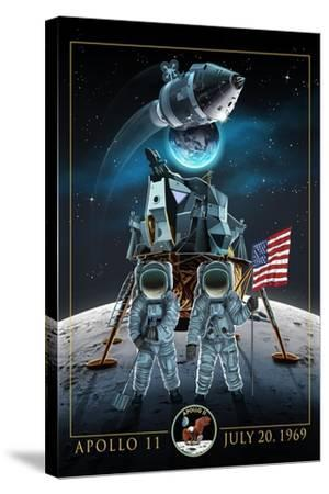 Apollo 11 - Lander and Astronauts-Lantern Press-Stretched Canvas Print