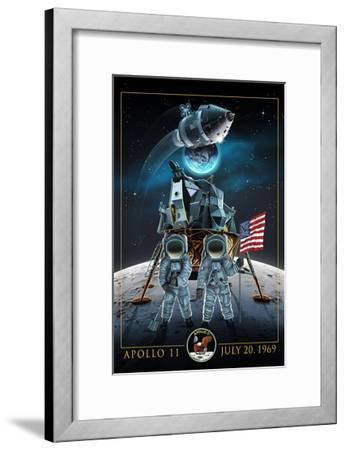Apollo 11 - Lander and Astronauts-Lantern Press-Framed Art Print