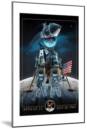Apollo 11 - Lander and Astronauts-Lantern Press-Mounted Art Print