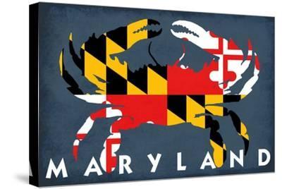 Maryland - Crab Flag-Lantern Press-Stretched Canvas Print