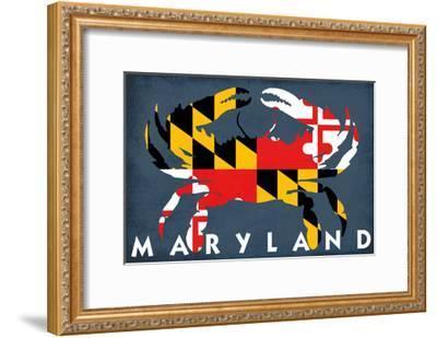 Maryland - Crab Flag-Lantern Press-Framed Art Print
