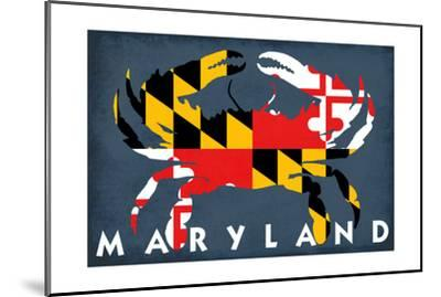 Maryland - Crab Flag-Lantern Press-Mounted Art Print