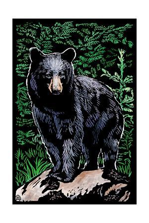 Black Bear - Scratchboard-Lantern Press-Framed Art Print