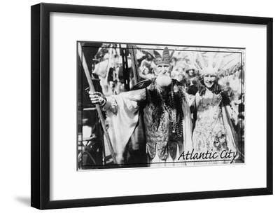 Atlantic City, New Jersey - Neptune and Miss America at Carnival --Lantern Press-Framed Art Print