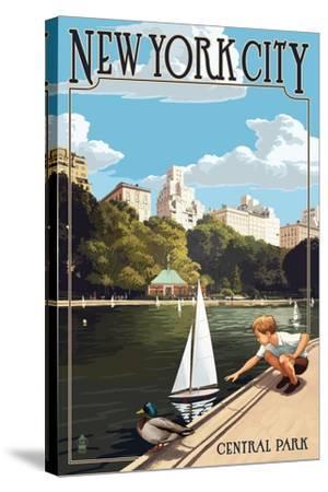 New York City, New York - Central Park-Lantern Press-Stretched Canvas Print