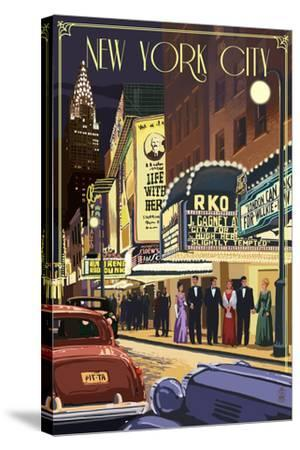New York City, New York - Theater Scene-Lantern Press-Stretched Canvas Print