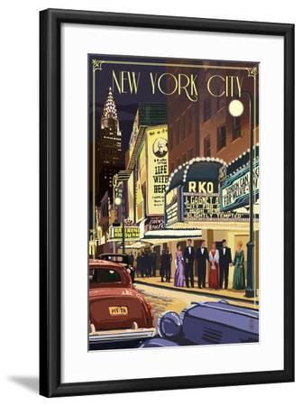 New York City, New York - Theater Scene-Lantern Press-Framed Art Print