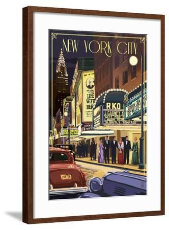 New York City, New York - Theater Scene-Lantern Press-Framed Art Print