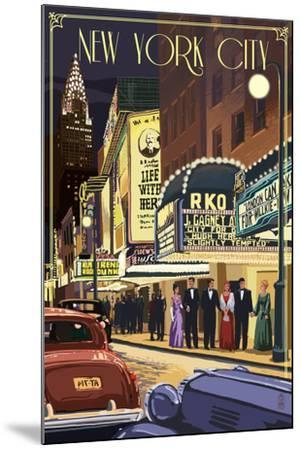 New York City, New York - Theater Scene-Lantern Press-Mounted Art Print