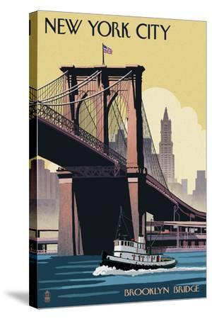 New York City, New York - Brooklyn Bridge-Lantern Press-Stretched Canvas Print