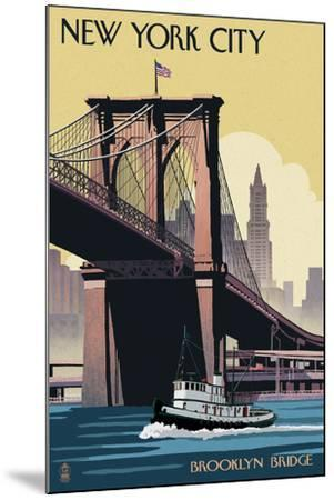 New York City, New York - Brooklyn Bridge-Lantern Press-Mounted Art Print