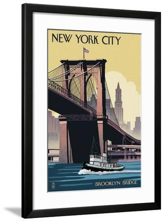 New York City, New York - Brooklyn Bridge-Lantern Press-Framed Art Print
