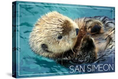 San Simeon, CA - Sea Otter-Lantern Press-Stretched Canvas Print