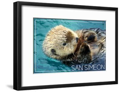 San Simeon, CA - Sea Otter-Lantern Press-Framed Art Print