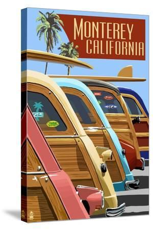 Monterey, California - Woodies Lined Up-Lantern Press-Stretched Canvas Print