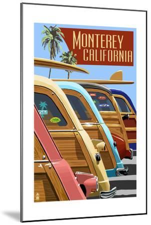 Monterey, California - Woodies Lined Up-Lantern Press-Mounted Art Print