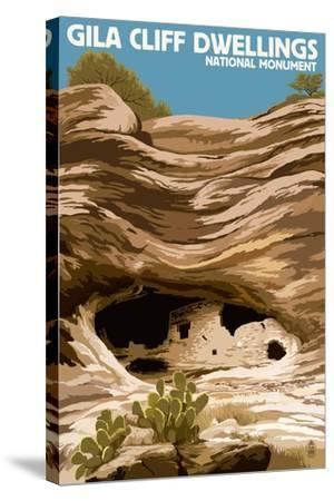 Gila Cliff Dwellings National Monument, New Mexico-Lantern Press-Stretched Canvas Print