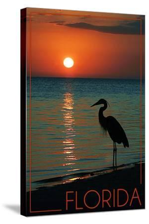 Florida - Heron and Sunset-Lantern Press-Stretched Canvas Print