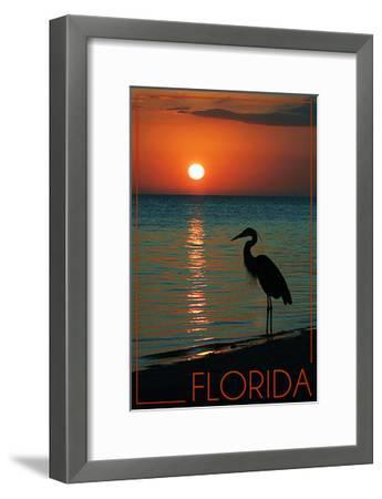Florida - Heron and Sunset-Lantern Press-Framed Art Print