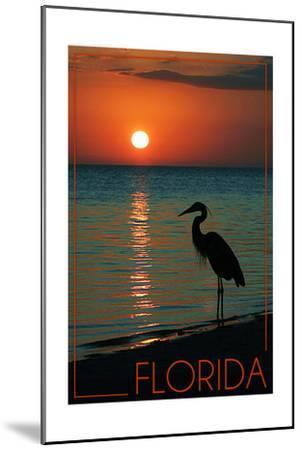 Florida - Heron and Sunset-Lantern Press-Mounted Art Print