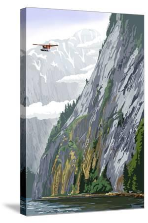 Misty Fjords and Float Plane-Lantern Press-Stretched Canvas Print