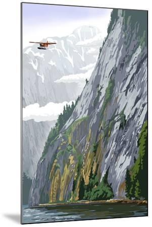 Misty Fjords and Float Plane-Lantern Press-Mounted Art Print