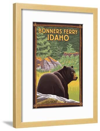 Bonners Ferry, Idaho - Black Bear in Forest-Lantern Press-Framed Art Print