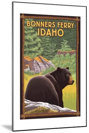 Bonners Ferry, Idaho - Black Bear in Forest-Lantern Press-Mounted Art Print