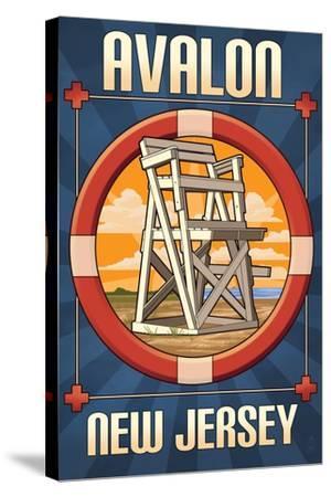 Avalon, New Jersey - Lifeguard Chair-Lantern Press-Stretched Canvas Print