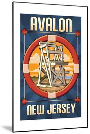 Avalon, New Jersey - Lifeguard Chair-Lantern Press-Mounted Art Print