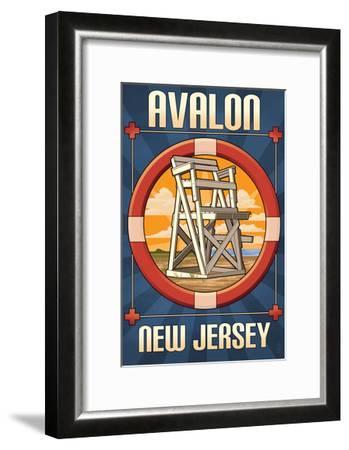 Avalon, New Jersey - Lifeguard Chair-Lantern Press-Framed Art Print