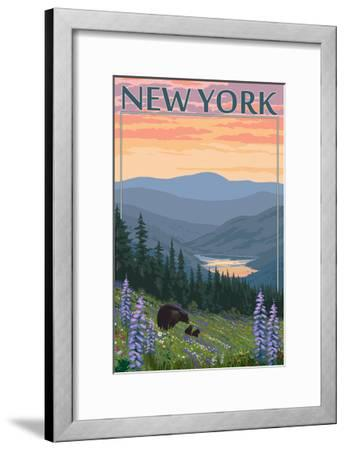 New York - Bear and Spring Flowers-Lantern Press-Framed Art Print