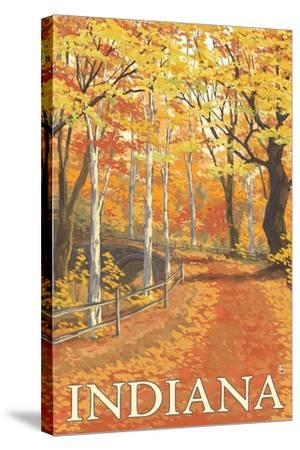 Indiana - Fall Colors-Lantern Press-Stretched Canvas Print