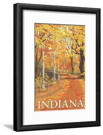 Indiana - Fall Colors-Lantern Press-Framed Art Print