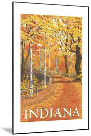 Indiana - Fall Colors-Lantern Press-Mounted Art Print