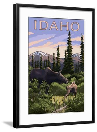 Idaho - Moose and Baby-Lantern Press-Framed Art Print