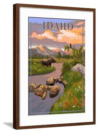 Idaho - Moose and Sunset-Lantern Press-Framed Art Print