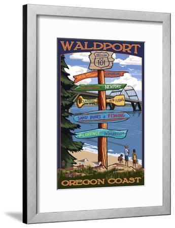 Waldport, Oregon - Sign Destinations #2-Lantern Press-Framed Art Print